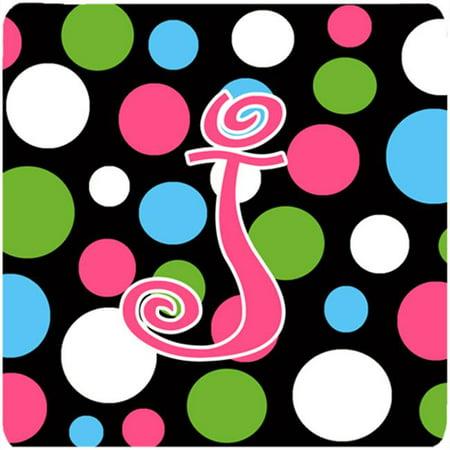 Pink Polka Dot Coaster (Monogram - Polkadots And Pink Foam Coasters - Set 4, Initial Letter J )