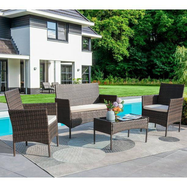 Walnew 4 Piece Outdoor Patio, Outdoor Conversation Furniture