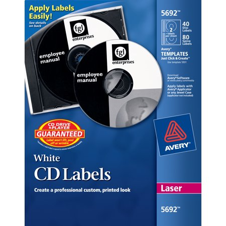 Avery White CD Labels for Laser Printers, 40 Disc Labels and 80 Spine Labels (5692) (Avery Spice Labels)
