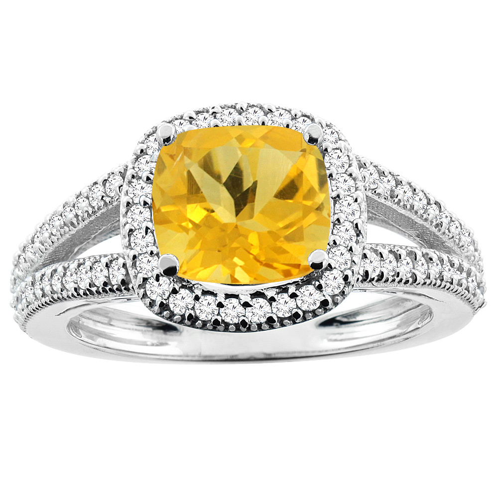 14K White Gold Natural Citrine Ring Cushion 7x7mm Diamond Accent 3 8 inch wide, size 5 by Gabriella Gold