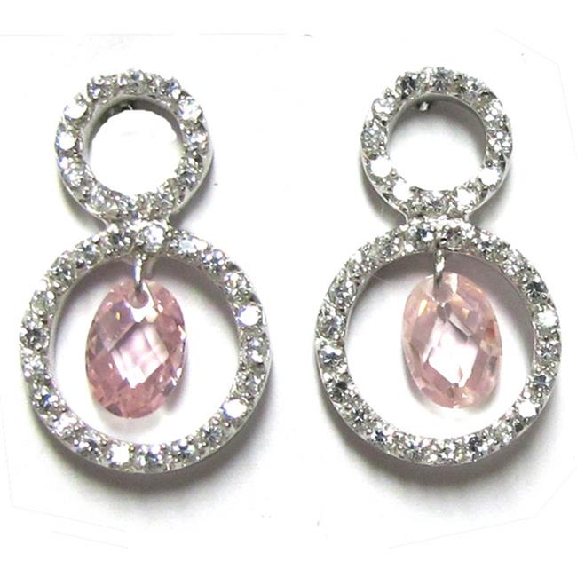 Dlux Jewels Sterling Silver Pink Circle Earrings Cubic Zirconia