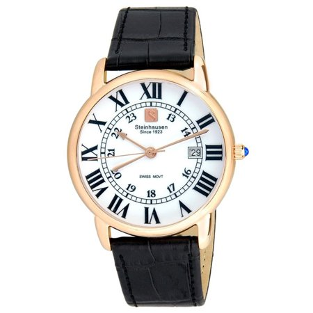Steinhausen Mens S0722 Classic Del?mont Swiss Quartz Stainless Steel Watch With Black Leather Band
