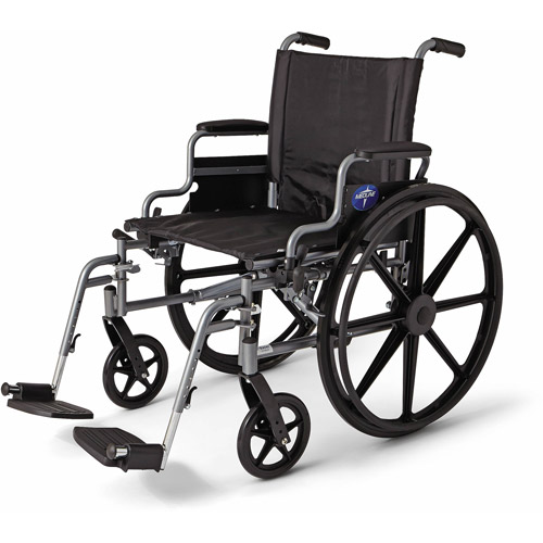 "Medline K4 Extra Wide 20"" Wheelchair, Swing Away Legs, Desk Length Arms"
