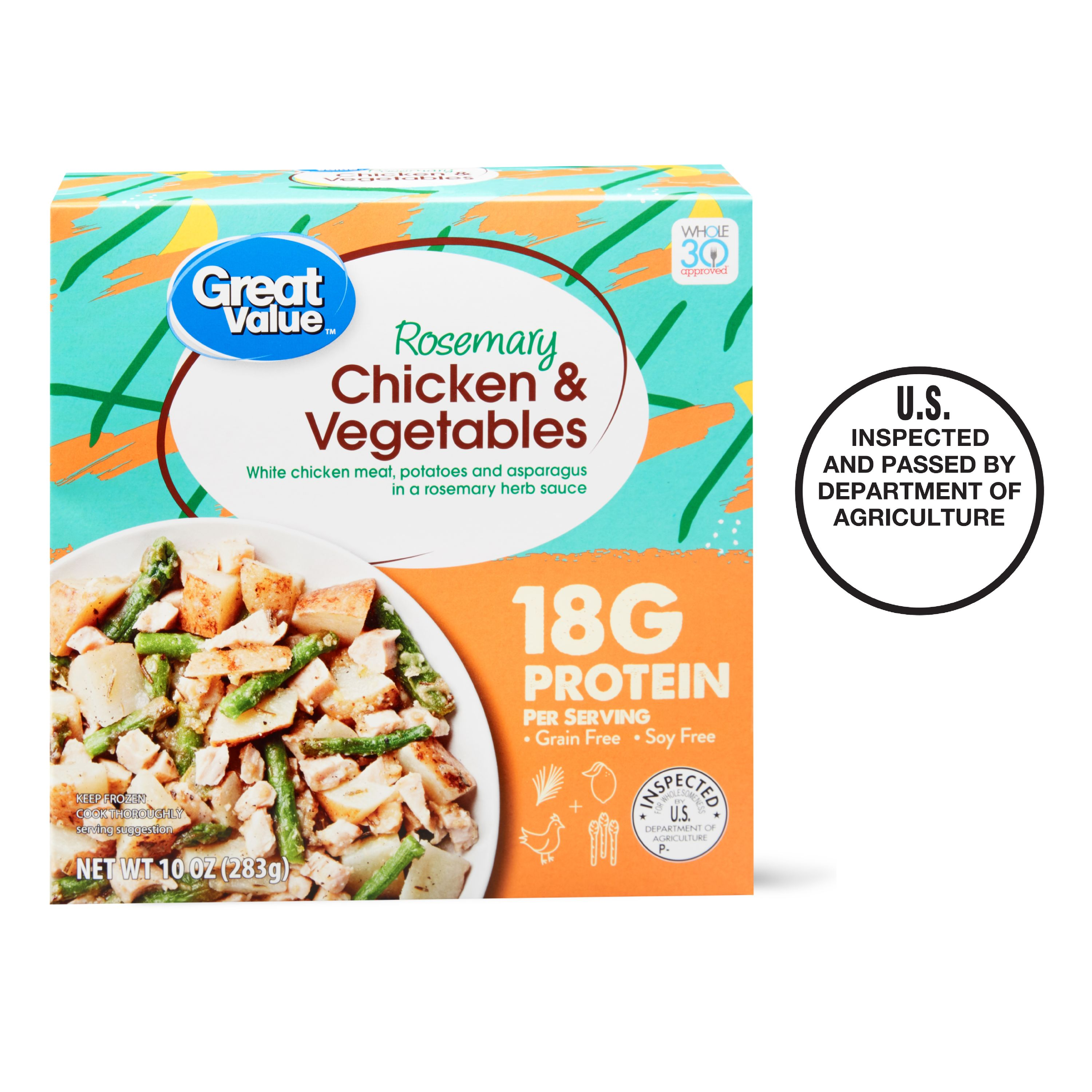 Great Value Rosemary Chicken & Vegetables Whole30® Meal, 10 oz