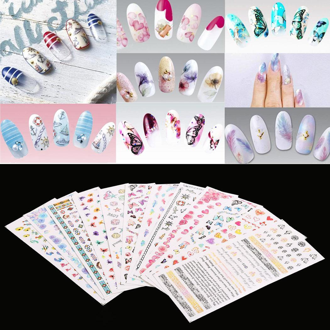 12 Sheet Nail Art Design Water Transfer Nails Sticker Colorful Nails Wraps Decals ECBY