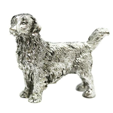 - Miniature Pewter Dog Figure: Golden Retriever - By Ganz