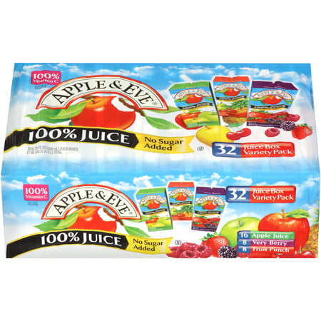 Apple & Eve 100% Juice, Variety Pack, 6.75 Fl Oz, 32 Count