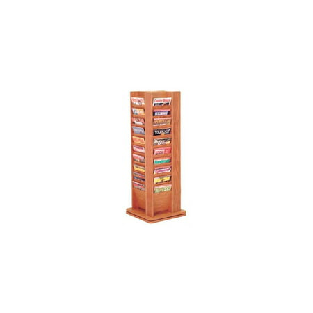 Forty-Pocket Revolving Oak Magazine Rack (Dark Red Mahogany)