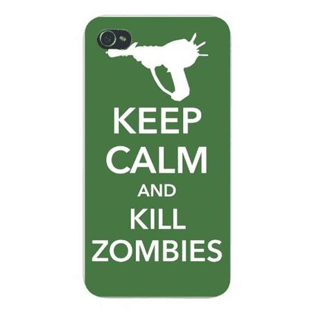 Apple Iphone Custom Case 4 4s White Plastic Snap on - Keep Calm and Kill Zombies w/ Gun (Gun Zombie Halloween Iphone)