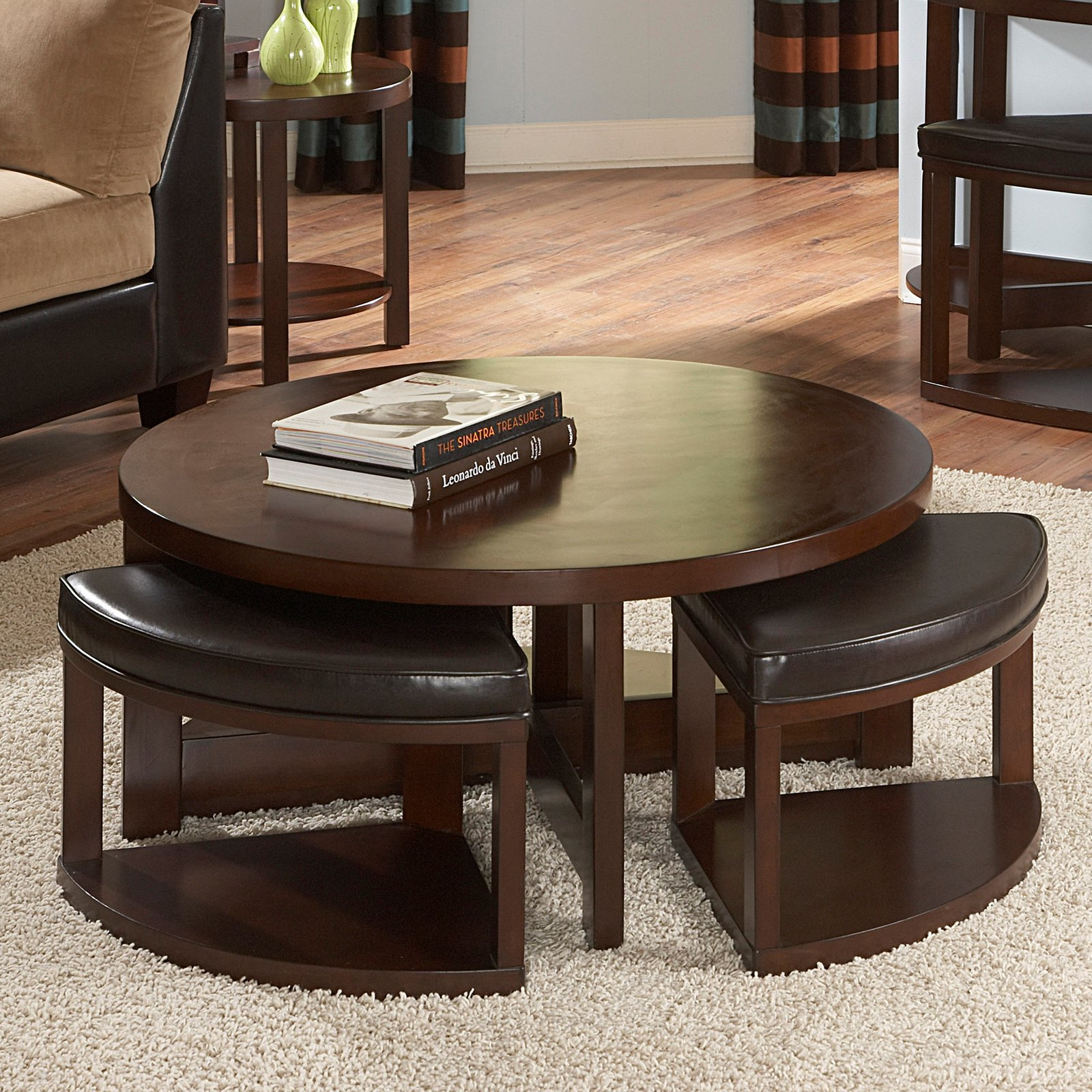Weston Home Brussel II Round Brown Cherry Wood Coffee Table With 4 Ottomans
