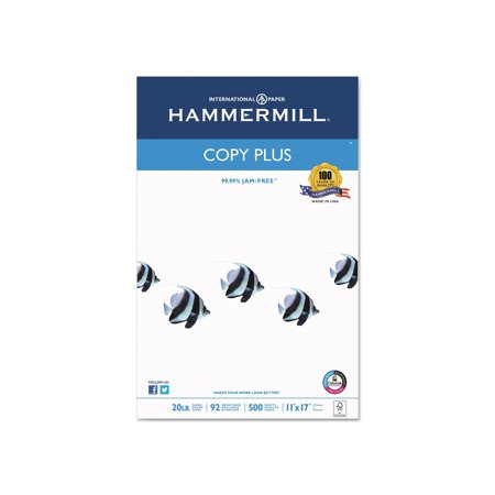 Branded The Hammermill Copy Plus Copy Paper, 20lb, 92 Bright, 11 x 17