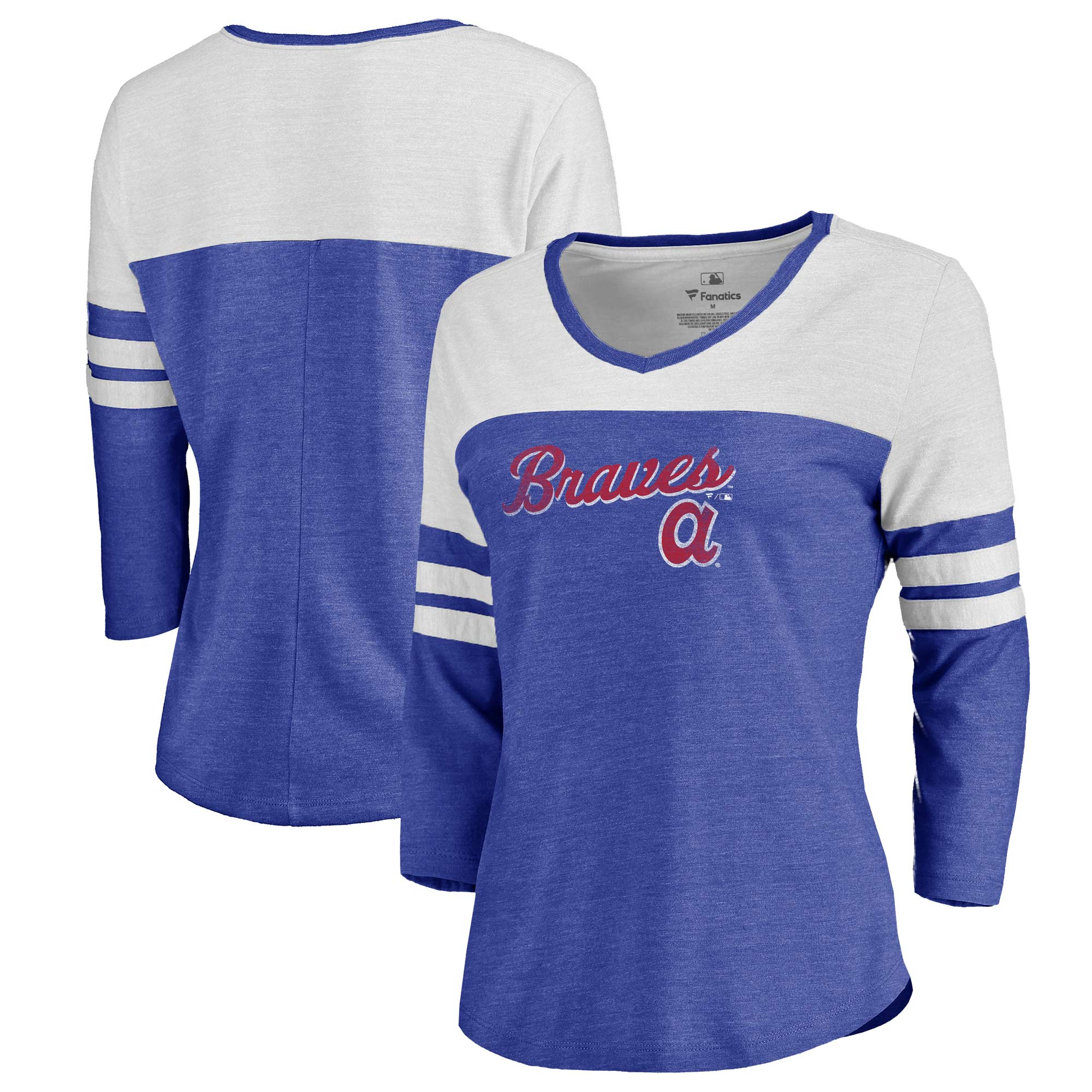 Atlanta Braves Fanatics Branded Women's Rising Script Tri-Blend Raglan V-Neck 3/4-Sleeve T-Shirt - Heathered Royal/White