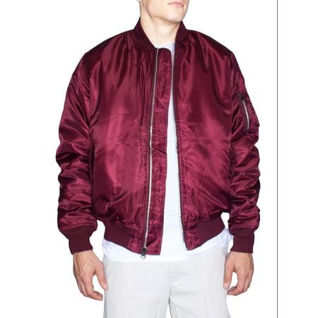 Mens Bomber Jacket | Reversible Zip Up Nylon Flight Work Outerwear Zip Up-Burgundy-Medium