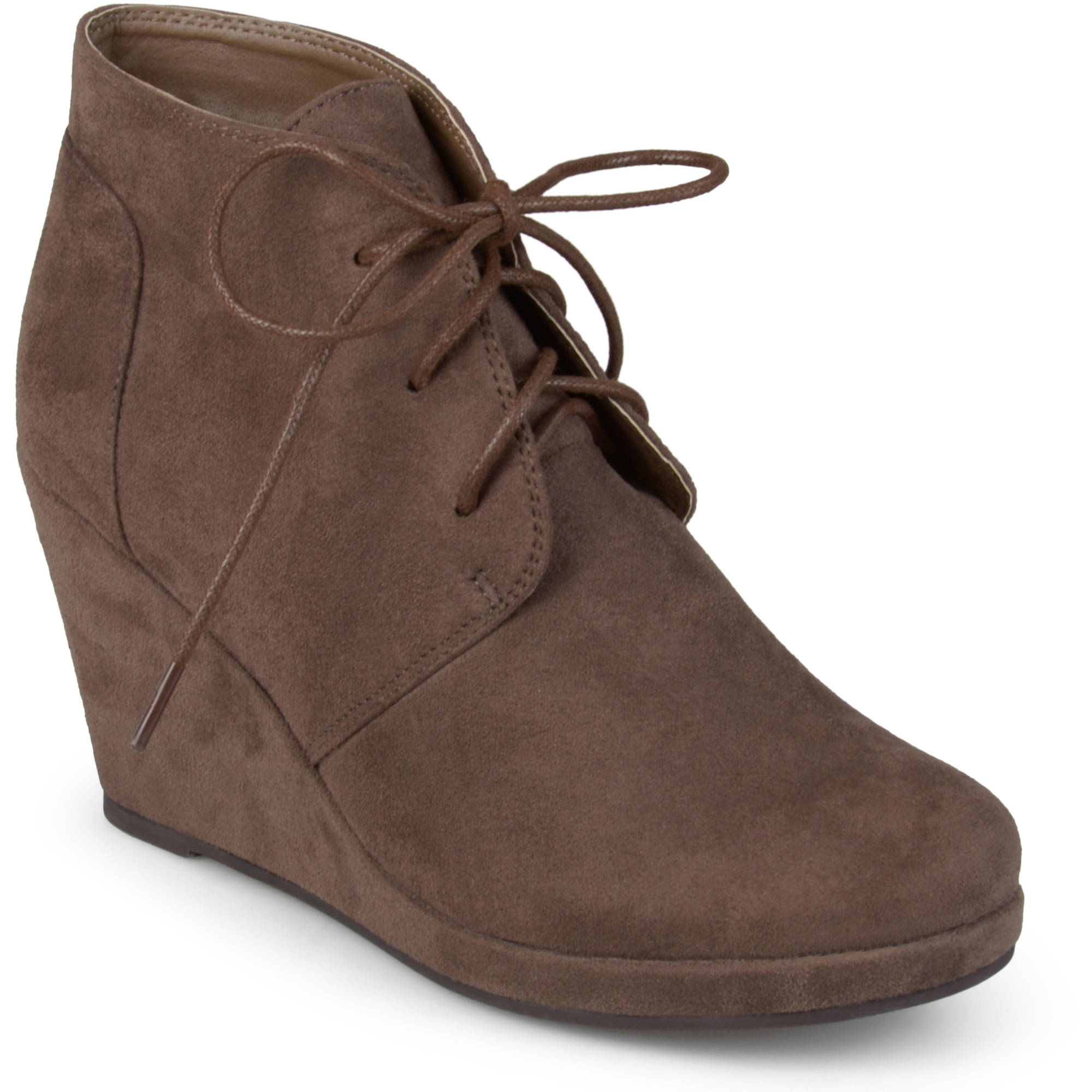 Brinley Co. Women's Wedge Faux Suede Booties