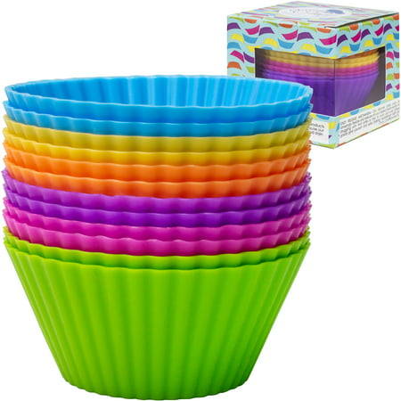 Silicone Cupcake Baking Cups, Assorted Colors,12pcs](Aqua Cupcake Liners)