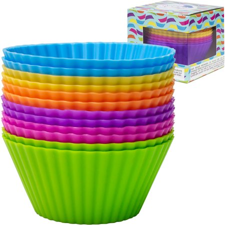Silicone Cupcake Baking Cups, Assorted Colors,12pcs - Halloween Mini Cupcake Liners