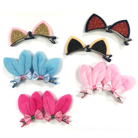 Wrapables® Rabbit and Cat Ears with Bow Alligator Hair Clips (Set of 12)