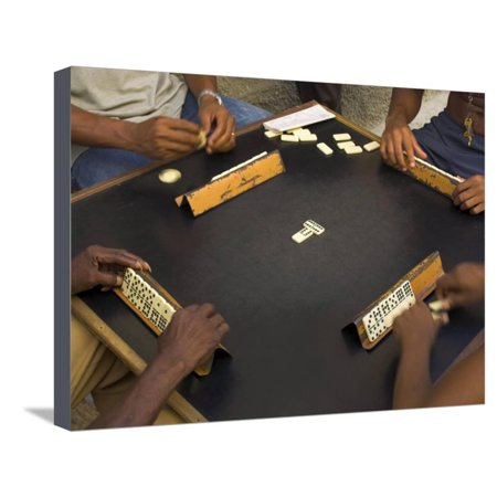 The Hands of a Group of Four People Playing Dominos in the Street Centro Habana Stretched Canvas Print Wall Art By Eitan Simanor - Groups Of 4 People