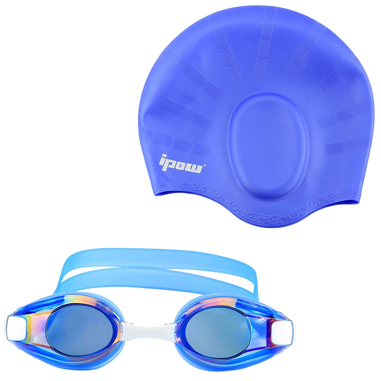 Swim Goggles with Cap, IPOW Anti Fog Goggle Long Hair Ear Protection Silicone Swimming Cap? for Children Kids Men Women... by
