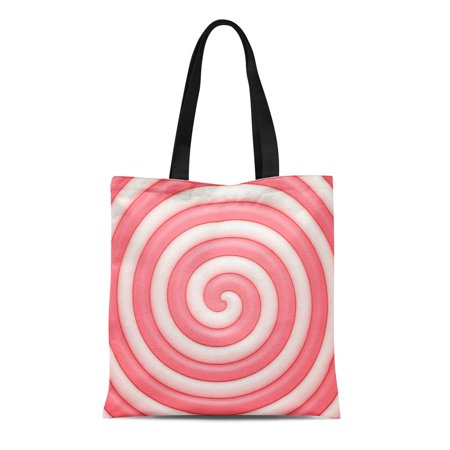 Celebration Caramels (ASHLEIGH Canvas Tote Bag Pink Birthday Candy Sweet Spiral Abstract Caramel Celebrate Celebration Durable Reusable Shopping Shoulder Grocery)