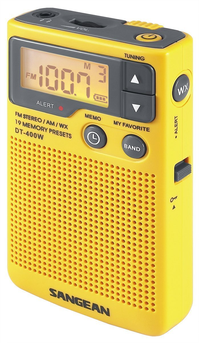 Outdoor Weather Radio, Sangean Dt-400w Am Fm Weather Alert Radio Portable, Yellow by Sangean