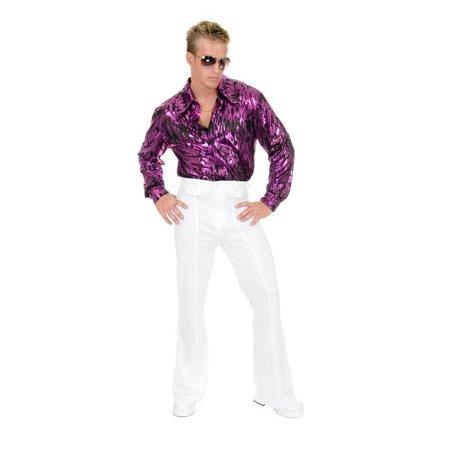Halloween Flame Hologram Plus Disco Shirt - Purple - Hologram Halloween