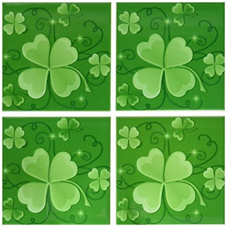 3dRose This design is of some lucky Shamrocks on a green background just in time for St Patricks Day, Ceramic Tile Coasters, set of 4](Light Up Coaster)