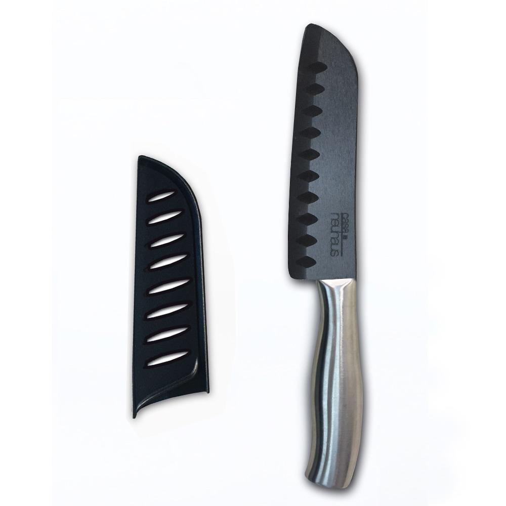 """Casa Neuhaus 5"""" Santoku Knife Black Blade Ceramic & Stainless Steel Handle by Overstock"""