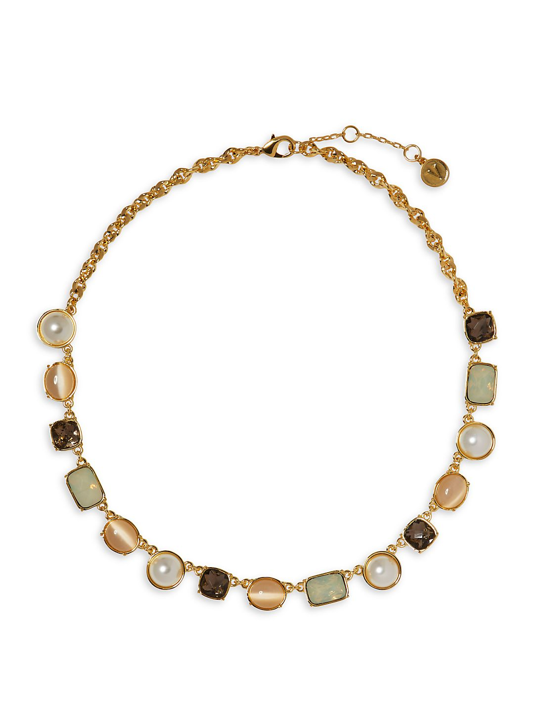 Goldtone and Glass Stone Frontal Necklace