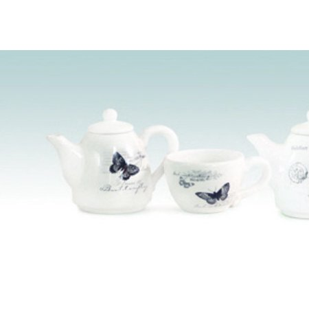 Two Piece French Botanical Black and Cream Butterfly Tea Cup and Pot - Butterfly Tea Set