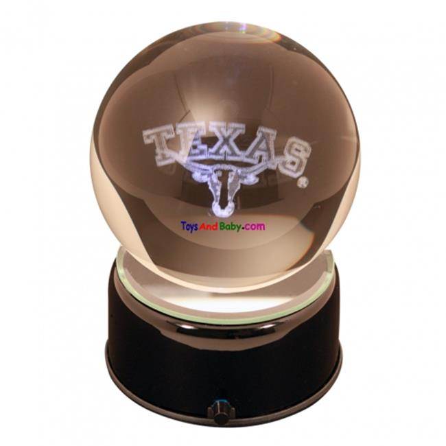 Paragon Innovations TexasULEM Texas University logo etched in a lit  musical and turning crystal ball