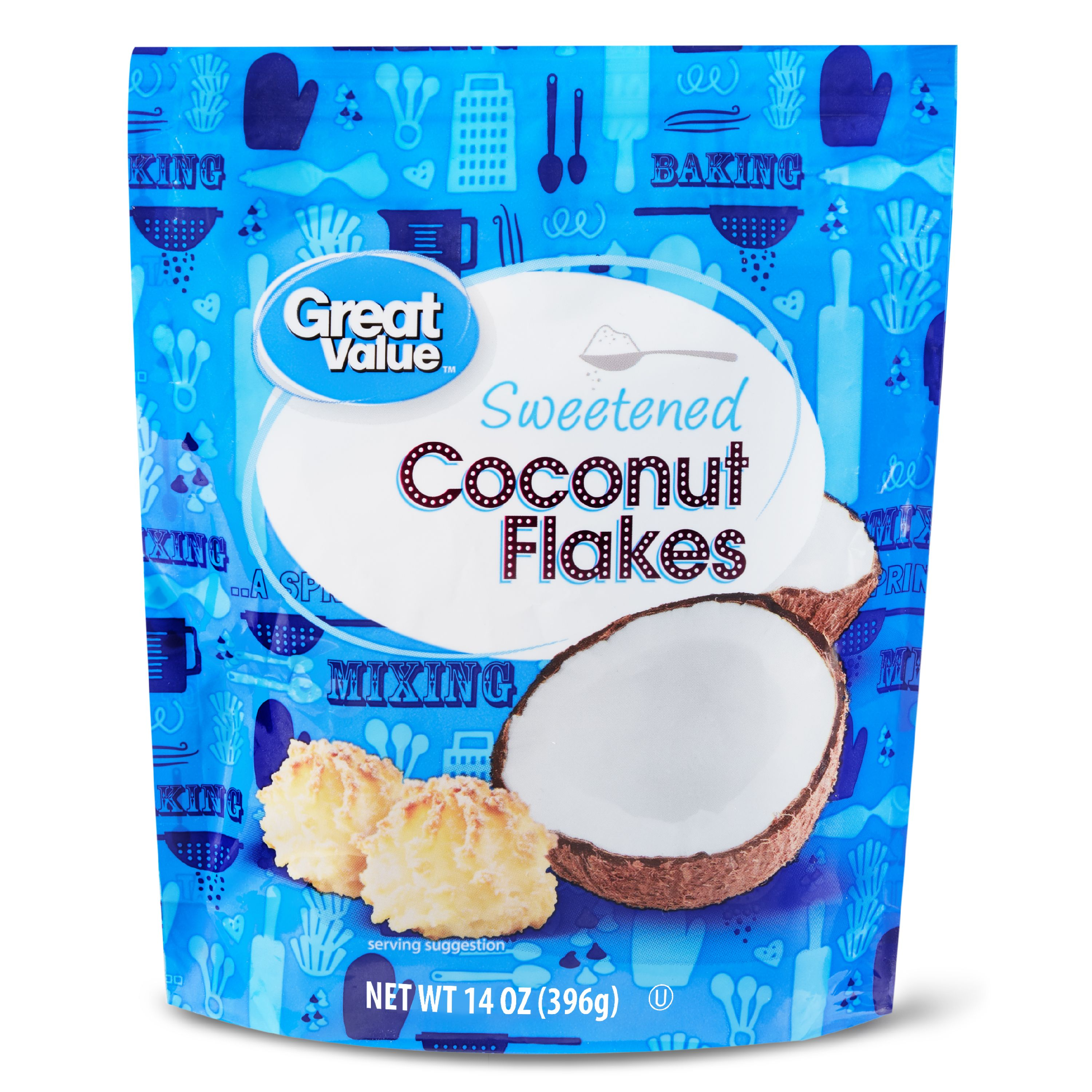 (4 Pack) Great Value Sweetened Coconut Flakes, 14 oz