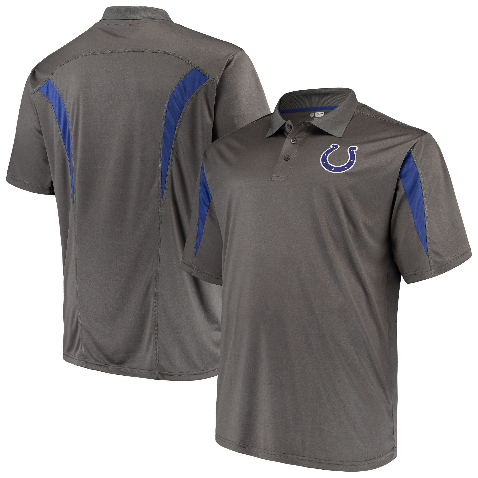 Men's Majestic Charcoal Indianapolis Colts Big & Tall Pieced Polo