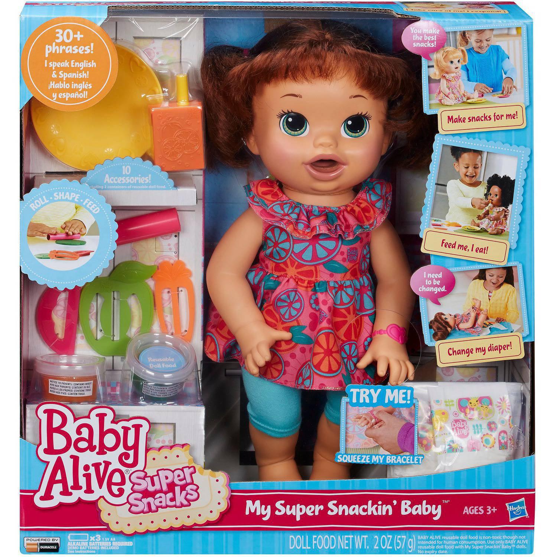Baby Alive Super Snacks Snackin Sara Brown Hair Walmart