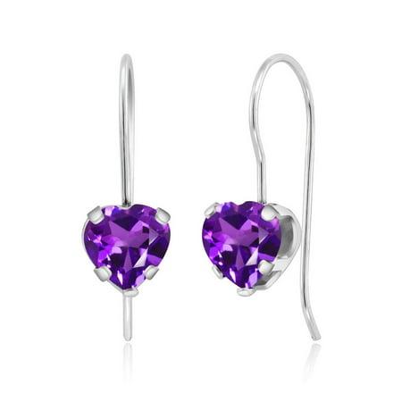 Amethyst Heart Dangle Earrings (1.48 Ct Heart Shape Purple Amethyst Sterling Silver 5-prong Dangle Earrings 6mm )