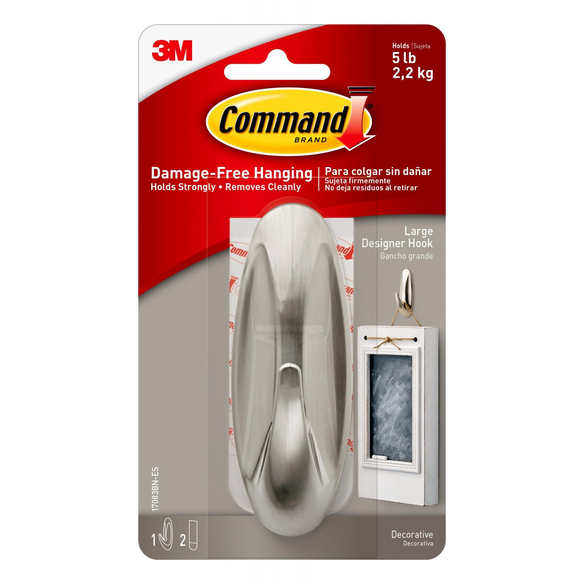 Command Designer Hooks, Brushed Nickel, Large, 1 Hook, 2 Strips/Pack