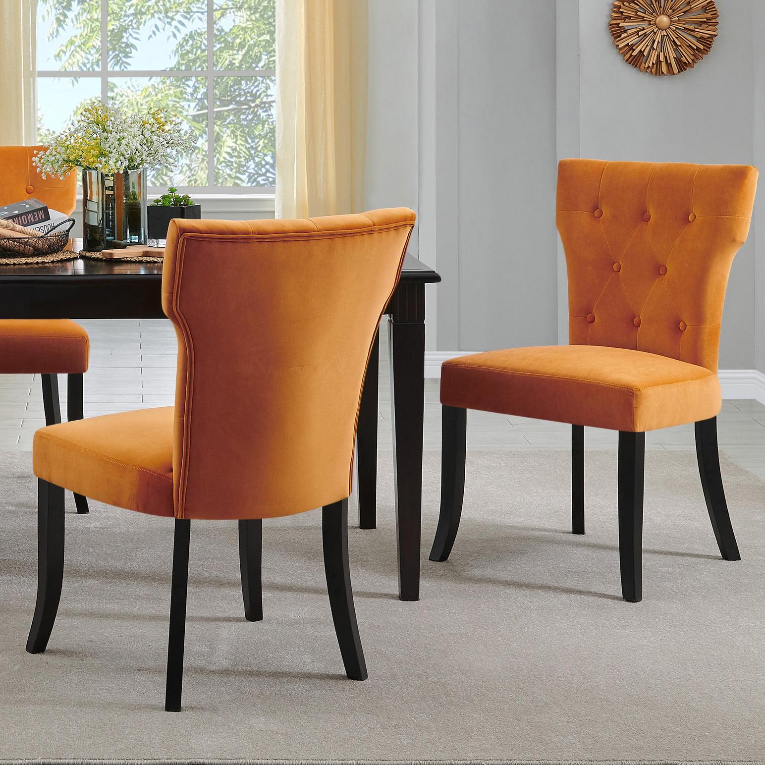 Homesvale Sabra Upholstered Dining Chairs In Mustard Gold Velvet Set Of 2 Walmart Com Walmart Com