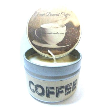 Coffee (Fresh Brewed) 4oz All Natural Soy Candle Tin Handmade in Rolla Missouri ()