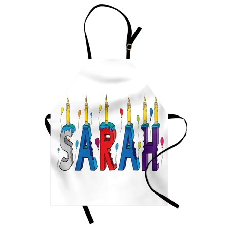 Sarah Apron Celebratory Festive Birthday Girl Name Lettering with Colorful Letters and Balloons, Unisex Kitchen Bib Apron with Adjustable Neck for Cooking Baking Gardening, Multicolor, by Ambesonne