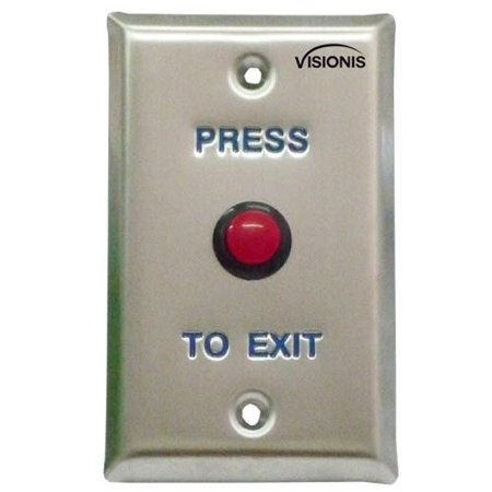 Visionis VIS-7004 Small Red Round Request to Exit Button for Door Access Control with LED Light, N.O. Output