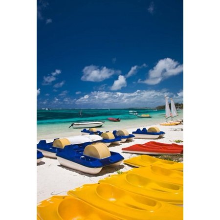 Mauritius Belle Mare Watercraft For Rent Poster Print By Walter Bibikow
