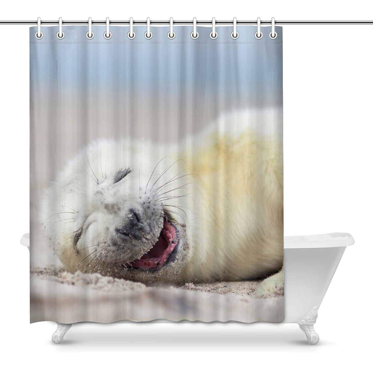 Mkhert Cute White Grey Seal Baby Relaxing At The Beach Home Decor Waterproof Polyester Bathroom Shower Curtain Bath Decorations 60x72 Inch
