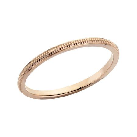 Ladies 1.5mm Stackable Milgrain Wedding Band in 14K Rose Gold - image 1 of 3