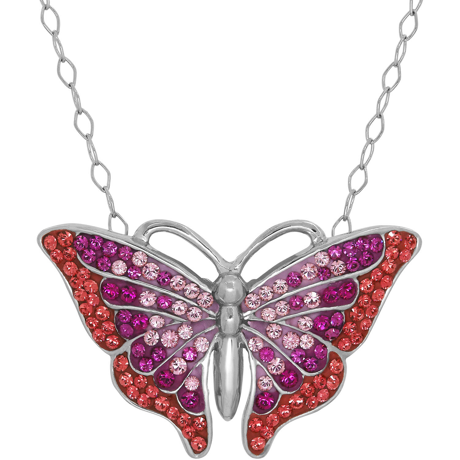 Luminesse Swarovski Element Sterling Silver Butterfly Pendant, 18""