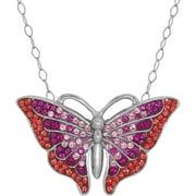 Swarovski Element Sterling Silver Butterfly Pendant, 18 Necklace