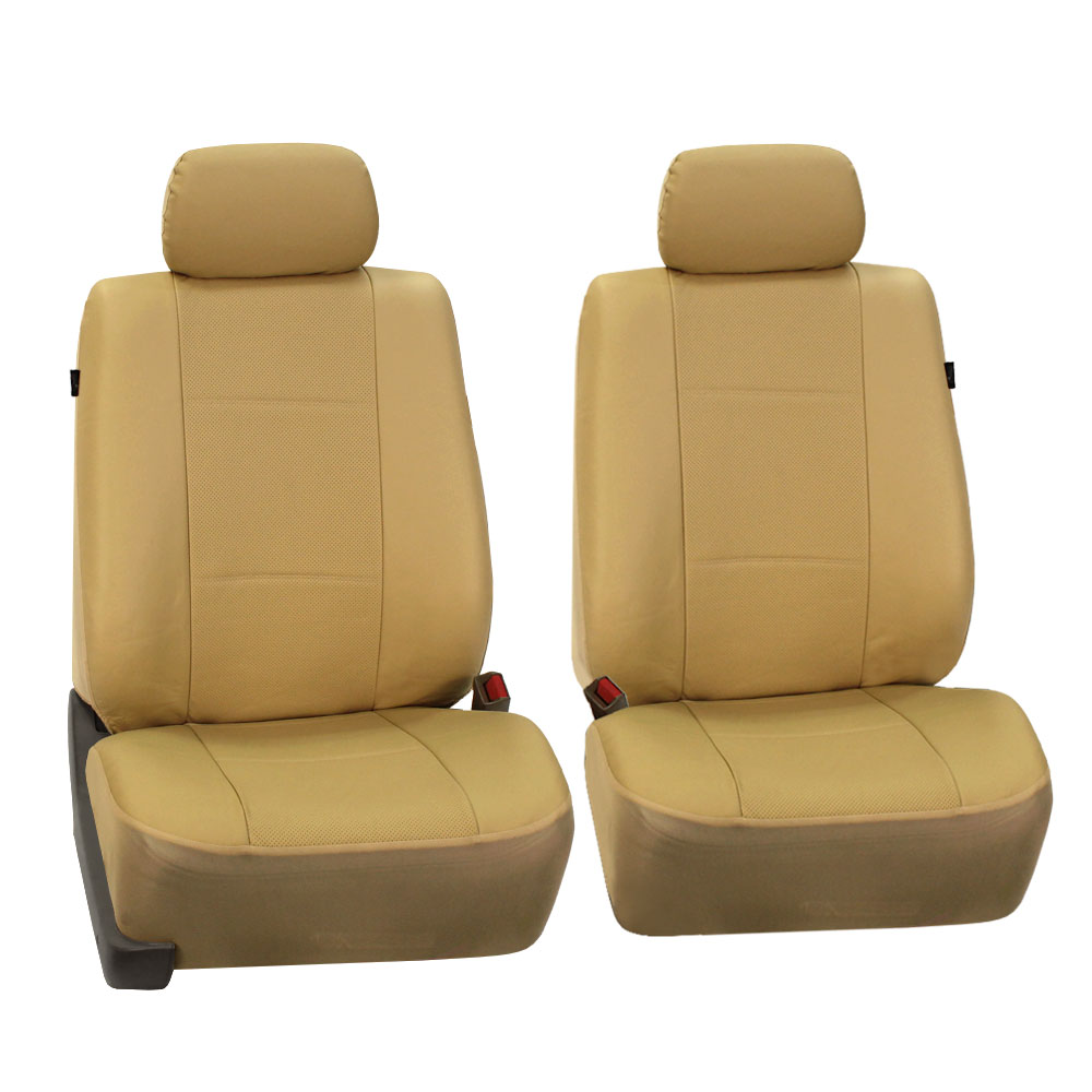FH Group Beige Deluxe Faux Leather Airbag Compatible Front Car Seat Covers Pair
