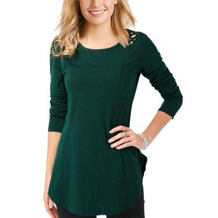 STARVNC Women Long Sleeve Round Neck Solid Color Cut Out Cold Shoulder -
