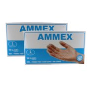 Ammex VPF66100 2 Pack Vinyl Glove Medical Latex Free Powder Free Large