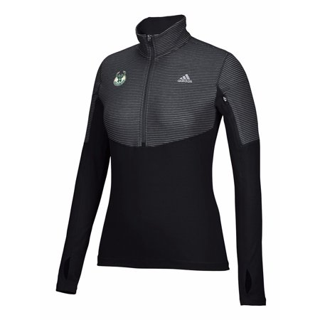 (Milwaukee Bucks NBA Adidas Black Lightweight Climalite Performance Half Zip Team Logo Pullover Jacket For Women)