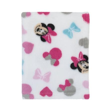 Disney Minnie Mouse Plush Pink, White, Aqua Baby Blanket